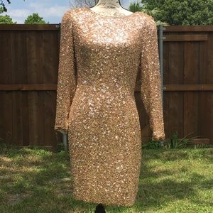 Oleg Cassini Black Tie gold sequins silk dress 8